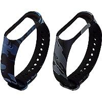 Rapidotzz Band Straps Compatible for Mi Band 4 and Mi Band 3 (Camouflage Blue and Camouflage Grey)