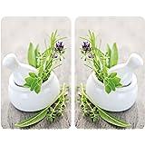 """WENKO Plaque de protection cuisson en verre trempé """"herbes"""" lot de 2, protection tous types de plaque"""