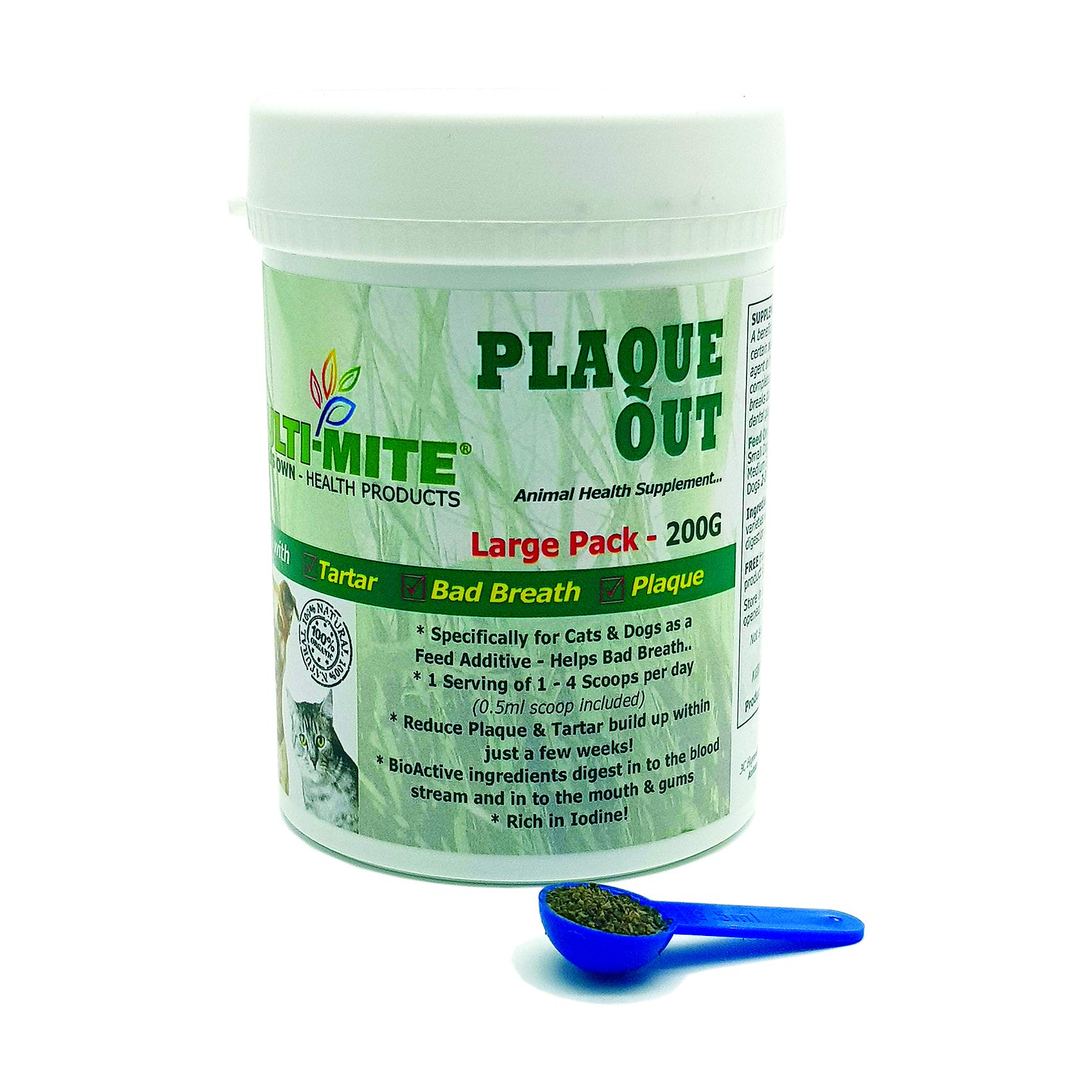 PLAQUE OUT® – Dog & Cat Plaque Off & Tartar Removal Large 200g PACK – Multi-Mite®