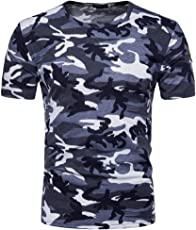 Mose Men's Cool Camouflage Top T-Shirt Casual Camouflage Print O Neck Pullover T-Shirt Top Blouse