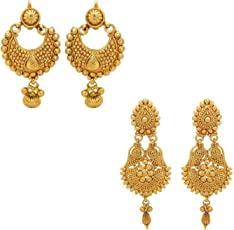 YouBella Jewellery Gold Plated Jewellery Combo of Earrings for Women Traditional Earrings for Girls
