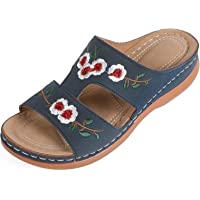 MUYOGRT Hausschuhe Damen Pantoletten Keilabsatz Schuhe Sommer Plateau Pantoffeln Bequeme Orthopädische Sandalen Elegant…