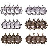 PandaHall 24 Sets basi di ciondoli Pendente di Stile Tibetano con cabochon in Vetro Trasparente per Foto collane ciondoli Gio