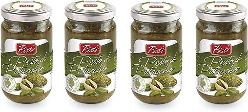 4 Vasetti di Pesto di Pistacchio Artigianale preparato con il 60% del miglior pistacchio siciliano - 4 x 190 g
