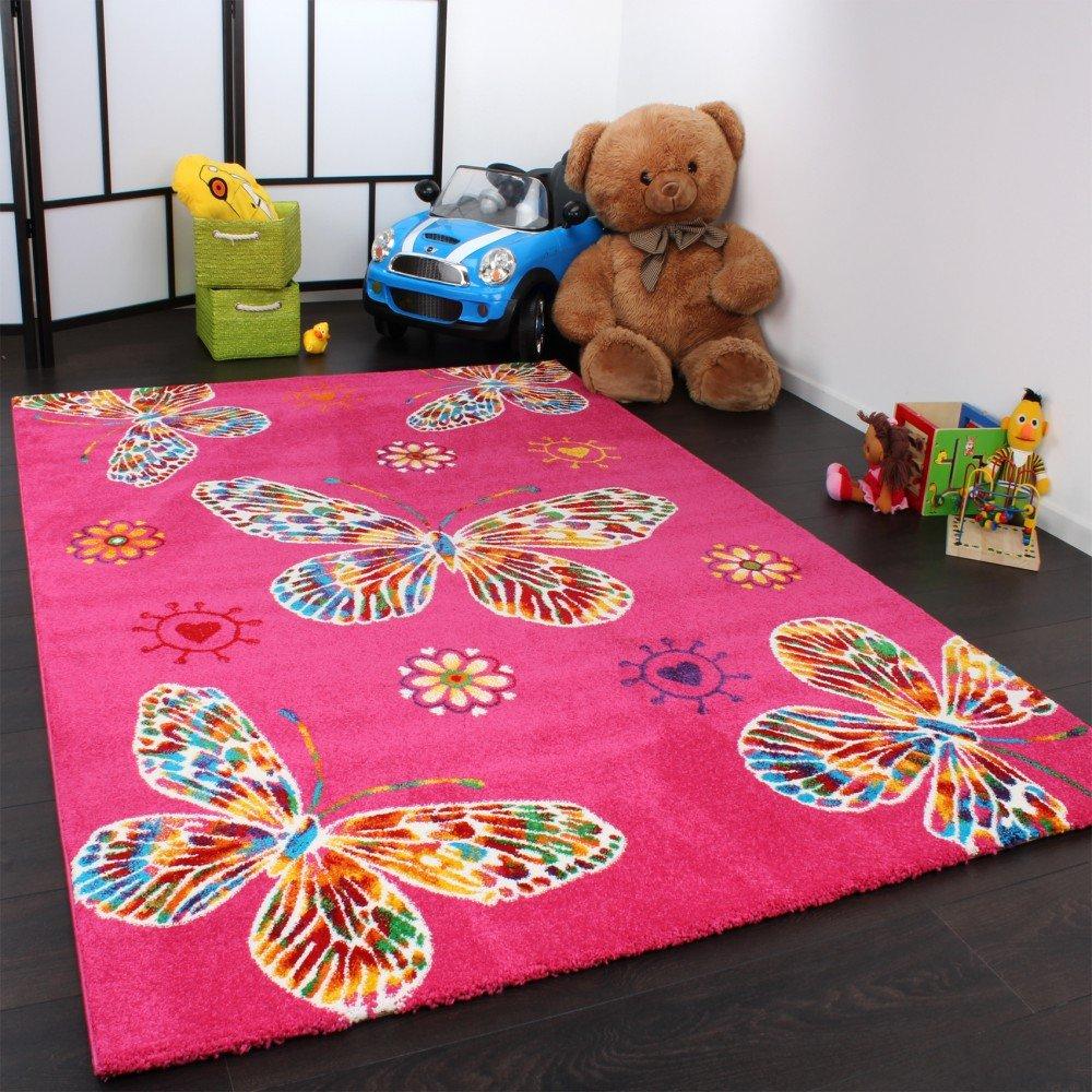 Tapis pour enfant moderne design avec papillons en rose ...