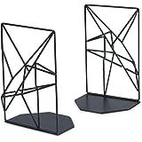 SRIWATANA Buchstützen, Metall Schwarz, Buchhalter für Regale,geometrisches Design, Rutschfest, 1 Paar (MEHRWEG)