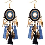 Yellow Chimes Modern Fusion Oxidized silver Gold Plated Alloy Chandbali Long Chain Dangle Earring for Women and Girls
