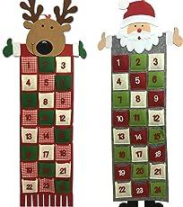 JEMIDI Adventskalender Türkalender zum selbst befüllen Filz füllen Kalender Weihnachts Advents und jedes Jahr Wieder verwenden