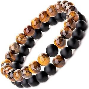 Be Happy with Happy Products Paire de Bracelets Homme Femme Couple Zen en Perle de Pierre Naturelle Onyx et Œil de Tigre Garantie 24 Mois