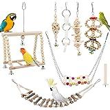 TAECOOOL Lot de 8 jouets à mâcher en bois naturel à suspendre pour cage à oiseaux, convient pour cacatoès, pinsons, petites p