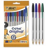 BIC Penne a Sfera, Cristal Original, Colori Assortiti, Punta Media (1,00 mm), Pacco da 10 Penne, per Scrivere a Scuola e…
