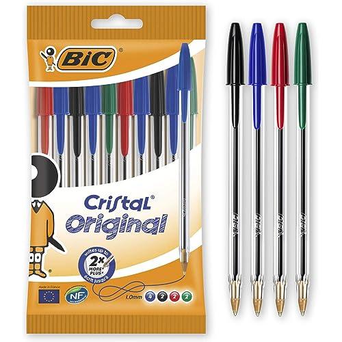 BIC Cristal Original Penne a Sfera, Punta Media (1,00 mm), Colori Assortiti, Pacco da 10 Penne, per Scrivere a Scuola e a Casa