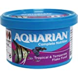 AQUARIAN Complete Nutrition, Aquarium Tropical Fish Food Flakes, 13g Container