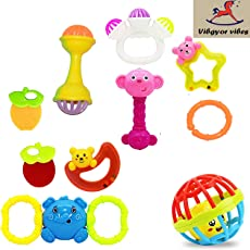 Vibgyor Vibes Lovely Mixed Attractive Colourful Non Toxic Rattles for Babies, Toddlers, Infants, Child - Set of 10