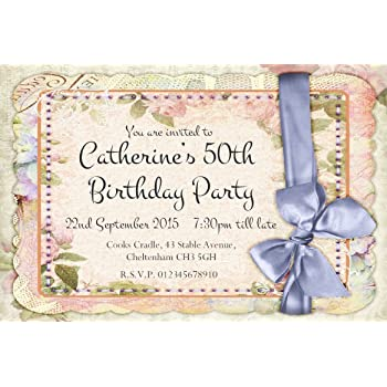 40 PERSONALISED PARTY INVITATIONS Vintage Shabby Chic Birthday Invites 21st 30th 40th 50th 60th