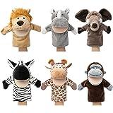 Marionnettes à main pour animaux Faune avec bouche ouverte en peluche Jouets à faire semblant Amis du zoo Parfait pour la nar