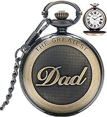 Herren-Taschenuhr, Vintage-Stil, Quarzuhr mit Kette, mit römischen Ziffern für den Tollsten Vater, Großvater/Opa - Retro-Geschenk zum Geburtstag oder Vatertag