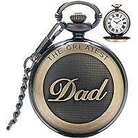 Montre de poche à quartz vintage avec chaîne pour homme, montre de poche pour le plus grand papa/grand-père/grand-père…