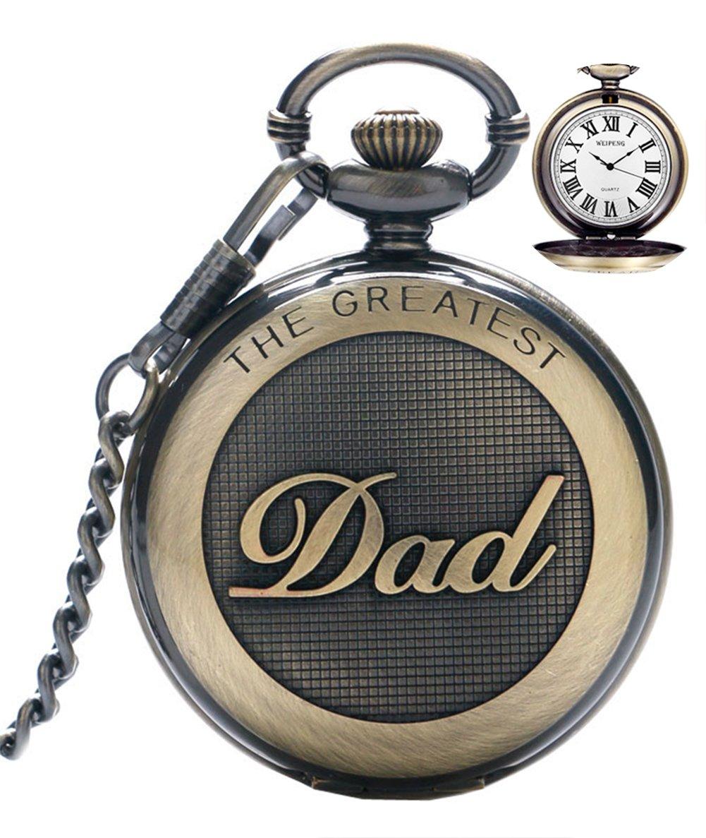 Reloj de bolsillo para hombre cuarzo con cadena para hombres colgante de reloj de bolsillo con números romanos para el día más grande/abuelo – Retro regalos para el día del padre de cumpleaños