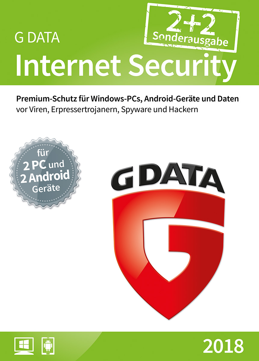 Produktbild G DATA Internet Security (2018)/Antivirus Software/Virenschutz für 2 Windows-PC und 2 Android-Geräte/1 Jahr/Trust in German Sicherheit [Download]