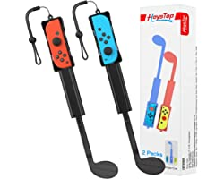 HEYSTOP Golf Club for Nintendo Switch/Switch OLED, Joy Con Controller Grip for Mario Golf, Golf Games Accessories Hand Grip A