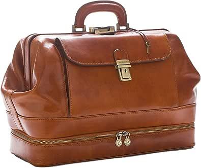 D&D - Doctor's Bag Borsa Medico stile classico con vano Portastrumenti - Made in Italy (Miele)