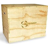 Body Revolution Pesante scatola in lengo per esercizi pilometrici, crossfit, esercizi di resistenza e vlocità, 3 altezze