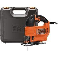 BLACK+DECKER KS701PEK-QS Scie Sauteuse pendulaire filaire - Livrée en coffret 520W, 18V, Noir, Orange,