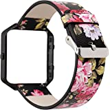 HULUCKY Women Flower Watch Strap for Fitbit Blaze Bands, Soft Leather Replacement Wristband Bracelet with Metal Frame for Fitbit Blaze Smart Fitness Watch
