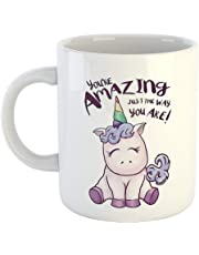 iKraft You're Amazing Just I The Way You are Printed Unicorn Coffee Mug White-11Oz Mug Gift for Sister
