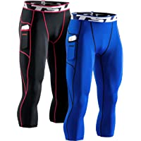TSLA Men's 3/4 Capri Compression Trousers, Running Workout Tights, Cool Dry Athletic Leggings, Exercise Gym Base Layer…