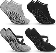 Zacro Calze da Yoga Antiscivolo Yoga Socks (4 Pairs) Fitness, Pilates, Barre, Danza, Allenamento a Piedi Nudi Cadute Prevenzi