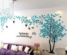 DIY 3D Riesiger Baum Paar Wandtattoos Wandaufkleber Kristall Acryl Malen Wanddeko Wandkunst