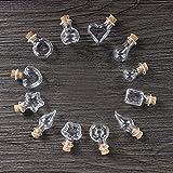 Ritte Mini Bottiglie, 12 Pezzi Mini Fiala Vetro Wishing Bottiglie DIY Ciondolo Loop con Tappo in Sughero, Piccola Bottiglia B