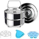 Snelkookpanaccessoires voor Instant Pot Achort Stapelbare Steamer Inzetpannen 5 6 8 Qt met 2 Steamer Basket, Silicone Egg Bit