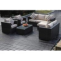 Brisbane Black Outdoor Cane Sofa Set with Cushions