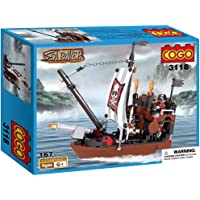 Webby Sea Rover Pirate Ship Building Blocks (Multi-Color, 167 Count)