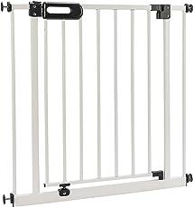 ♥ Hochwertiges Schutzgitter Merle 63-182 cm von BOMI | Türschutzgitter weiß Metall Selbstschließend | Treppenschutzgitter Türgitter Klemmgitter für Babys, Kleinkinder, Tiere