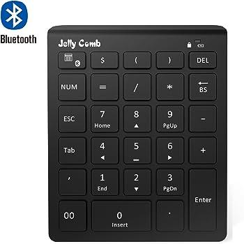 Jelly Comb Clavier Pavé Numérique Bluetooth Ultra-Mince avec 28 Touches pour Ordinateur PC Smartphone Tablette-Noir