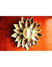 WebelKart JaipurCrafts Wall Delight Mirror Wall Sconce Tealight Holder (12 Inch; Golden)