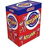 FIESTA Kojak Caramelo con Palo Sabor Cereza Relleno de Chicle - Caja de 100 unidades