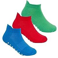 JollyRascals 3 Pairs Boys Socks New Kids Trainer Sports Socks Liners Trampoline Non Slip Boy 3 PACK Socks Black Multi…