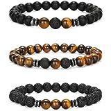 Senteria 3-6 Pièces 8mm Bracelet de Perles pour Hommes Femmes Bracelet en Pierre Naturelle Mala Agate Yoga Elatics Bracelet O