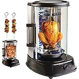 Rôtissoire verticale pour four à grillades Fours Grill Kebab au poulet Viande et brochettes à rotation de 360º En acier 6383
