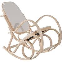 Homcom Fauteuil à Bascule Rocking Chair 54L x 97l x 101H cm Assise Dossier Rembourrage Grand Confort Bois de Bouleau