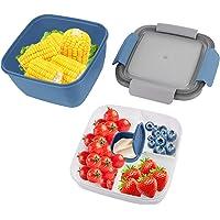 Bento Box Enfant, 1,5L Lunch Box avec Compartiment, Boîte à Déjeuner en Plastique pour Enfant Adulte, avec 3…