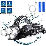 BETECK Hoofdlamp, led-hoofdlamp, USB-oplaadbaar, IPX4 waterdicht, met 5 leds, 12000 lumen, perfect voor wandelen, vissen, kam