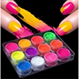 12Pcs Nail Powder Nail Art Gradient Powders Neon Fluorescent Nail Glitter Dust Pigment DIY Nail Art Decoration