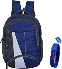BLUTECH Polyester 36L Laptop Backpack with Watch (Blue, 6546216)