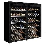 ACCSTORE Etagères à Chaussures de Rangement Armoire en Tissus Rangement Étanche Étagères à Chaussures 2 X 6 Couches,Noir